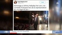 Les élèves pompiers de Paris et la comédie française rendent hommage à Johnny Hallyday - Regardez