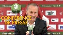 Conférence de presse Stade Brestois 29 - FBBP 01 (3-0) : Jean-Marc FURLAN (BREST) - Hervé DELLA MAGGIORE (BBP) - 2017/2018