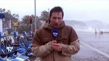 """Nice: """"Des vagues de 3 à 4 mètres projettent des galets sur la promenade des Anglais"""""""
