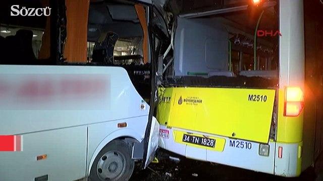 Havalimanı personelini taşıyan servis aracı kaza yaptı
