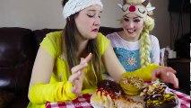 Frozen Elsa & Belle DONUT CHALLENGE w  Spiderman Joker Maleficent Makeup Attack Fun in real life | Superheroes | Spiderman | Superman | Frozen Elsa | Joker