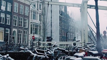 Amsterdam under the snow might be the best place to spend winter at..