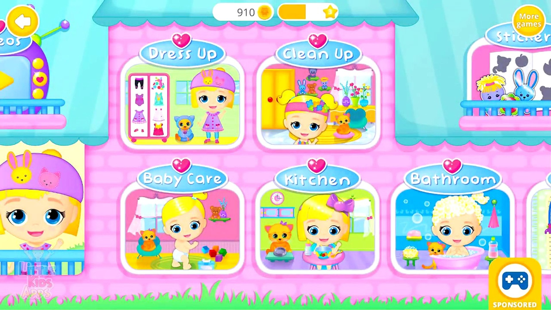 Baby and Pet Care - Lily & Kitty Baby Doll House - Fun Game for Kids