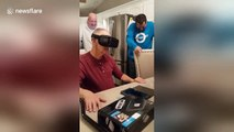 Grandfather has extreme reaction to VR roller-coaster experience