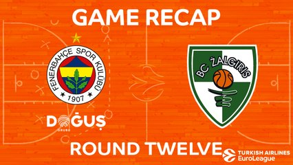 EuroLeague 2017-18 Highlights Regular Season Round 12 video: Fenerbahce 89-90 Zalgiris