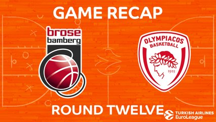 EuroLeague 2017-18 Highlights Regular Season Round 12 video: Bamberg 67-65 Olympiacos