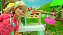 Animal Rescuer Barbie Vet Doll Takes Medical Care of Schleich Baby Animals, Gives Shots-piGdOxPxNBY