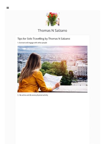 Tips for Solo Travelling by Thomas N Salzano