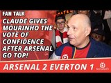 Claude Gives Mourinho The Vote of Confidence after Arsenal Go Top! | Arsenal 2 Everton 1
