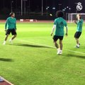 Modric, Kovacic and Marcelo keepie uppie skills with a tennis ball