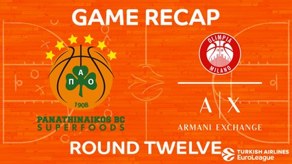 EuroLeague 2017-18 Highlights Regular Season Round 12 video: Panathinaikos 80-72 AX Milan