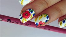 Field flowers freehand nailart with Winstonia 'berry wine' brush 31DC2016 day 14 floral nails-PtNkuXaMqSY