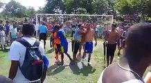 Shooting a penalty kick in a brazilian favela (slum)