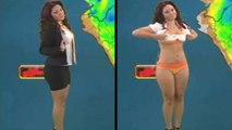 Weatherwoman Quickly Disrobes While Giving The Forecast On Live TV