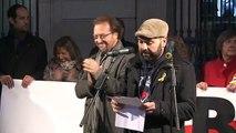 Marcel Mauri (Òmnium) i Enric Blanes (ANC) en l'acte pels dos mesos de presó dels Jordis