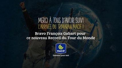 Replay: Arrivée de François Gabart à bord du trimaran MACIF, nouveau record du tour du monde en solitaire !