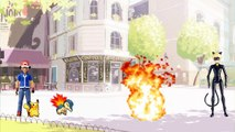 Ash pokemon vs Cat Noir Miraculous Ladybug batalha pokemon Pikachu Charizard vs Dragonite totoykids-iq9L4RiKoyo