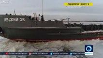 Prisonnier de la glace ce bateau est coincé dans la Volga pour l'hiver !