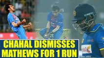 India vs SL 1st T20I: Angelo Mathews dimissed by Chahal, Lankans in deep trouble | Oneindia News