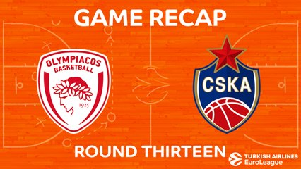EuroLeague 2017-18 Highlights Regular Season Round 13 video: Olympiacos 88-86 CSKA
