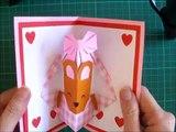 折り紙 クマのバスケット 誕生日ポップアップカード 簡単な作り方(niceno1)Origami teddy bear in the basket Birthday Pop up card-AZWHInC_Sjc