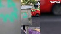 Female Tourist Graffiti Tags In Broad Daylight