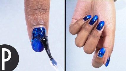 Tuto: Nails blue glitter