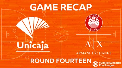 EuroLeague 2017-18 Highlights Regular Season Round 14 video: Unicaja 74-71 AX Milan