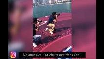 Le Barça fête sa victoire dans le Clasico, Neymar tire sa chaussure dans l'eau