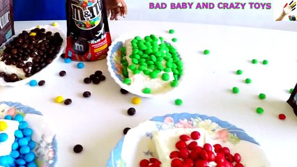 Learn Colors with M&M's Decorating Ice Cream IRL for Children, Toddlers a