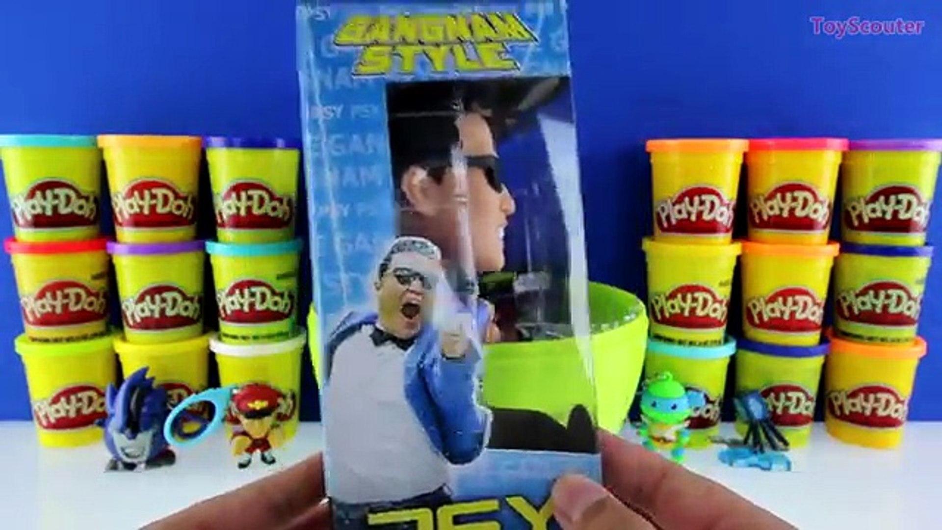 GIANT PSY Surprise Egg Play Doh - Korean Pop Singer Toys Album TMNT Transformers , Cartoons animated