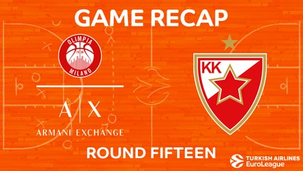 EuroLeague 2017-18 Highlights Regular Season Round 15 video: AX Milan 88-91 Zvezda