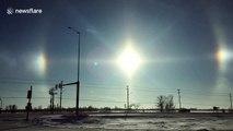 """Extreme cold in Canada creates """"sun dog"""" phenomenon"""