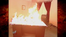 Kane w/ The Undertaker Sets Fire to Commissioner Regal's Office! 4/19/01