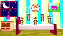 FIVE LITTLE MONKEYS - Jumping On The Bed - Nursery Rhymes, Crazy Monkeys, Song For Kids&Toddlers-