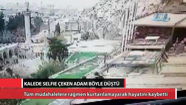 Kalede selfie çeken adamın düşme anı kamerada
