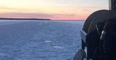 Ferry Breaks Ice on Lake Superior
