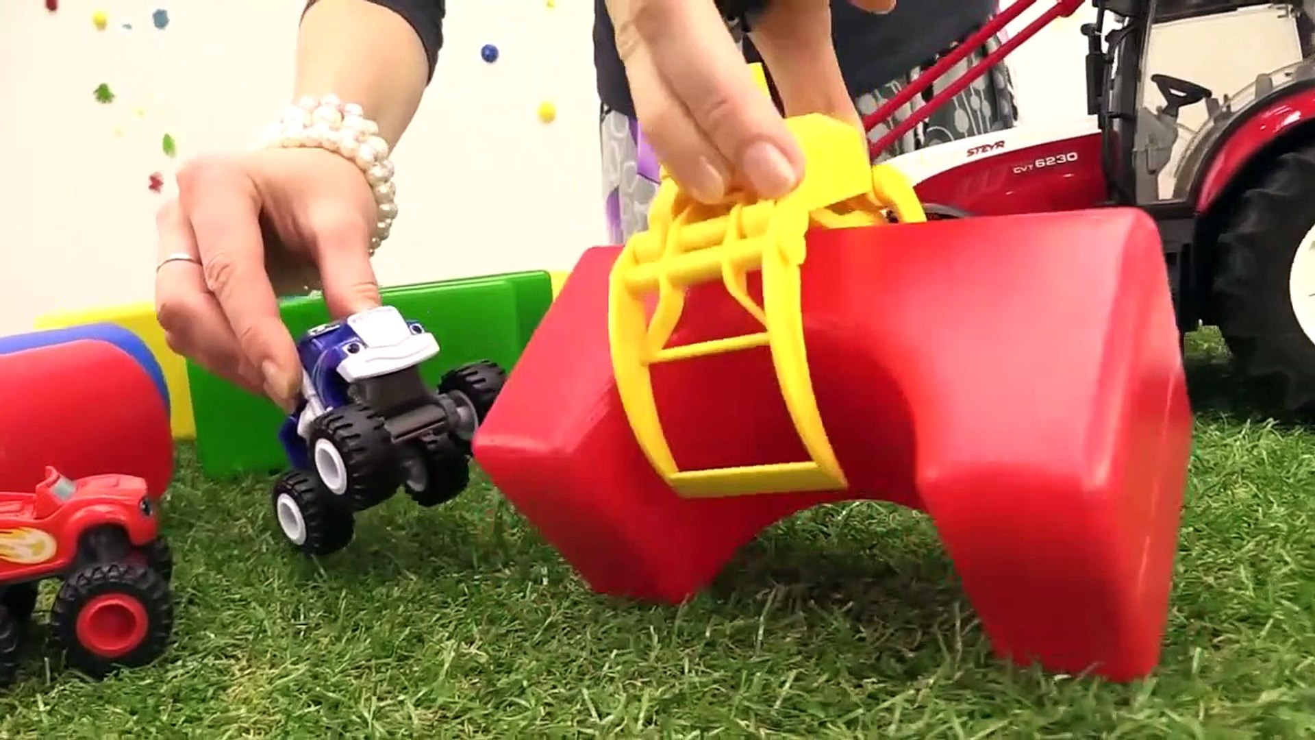 SMELLY TOY TRUCKS JUMP! - Toy Trucks stories for kids! Videos for kids - Blaze Toy Construction Si