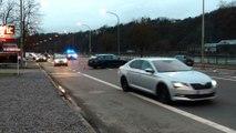 Accident entre une voiture et une moto quai d'Arona à Huy