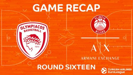 EuroLeague 2017-18 Highlights Regular Season Round 16 video: Olympiacos 87-80 AX Milan