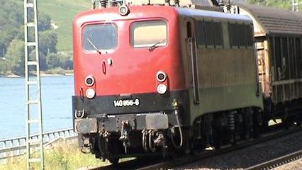 Eisenbahnen und Schiffe Lorch am Rhein, BayernBahn 140, RheinCargo 187, HGK 185, Lineas 186, Railion 185