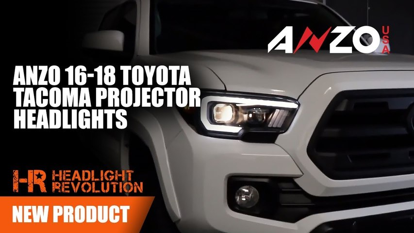Black Projector Anzo Headlights with DRL for Toyota Tacoma 2016-2018 | Headlight Revolution