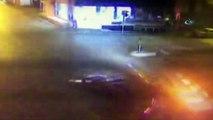 Kontrolden çıkan araç takla attı, caddede yürüyen yaya araç ile duvar arasına sıkıştı...Feci kaza kamerada