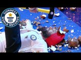Terrifying blindfolded coconut hammering record // Guinness World Records Italian Show (Ep 27)