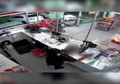 Armed Robbers Smash Through Service Station Doors