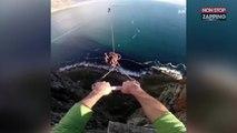 Le saut pendulaire époustouflant d'un amateur de sensations fortes (Vidéo)