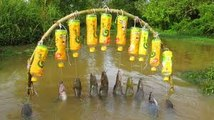 Believe This Fishing? New Fishing Technique Trap Using 10 Bottles & 10 Hooks To Catch Alot Of Fish