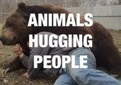 Animals and People Sharing a Loving Hug