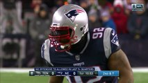 New England Patriots linebacker James Harrison drags down Tennessee Titans running back Derrick Henry for first playoff tackle with the Patriots