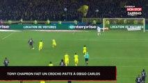 PSG – Nantes : L'arbitre Tony Chapron fait un croche-patte à Diego Carlos puis l'expulse (Vidéo)